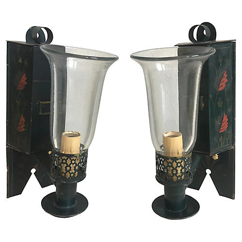 Tole Chinoiserie Sconces, Pair
