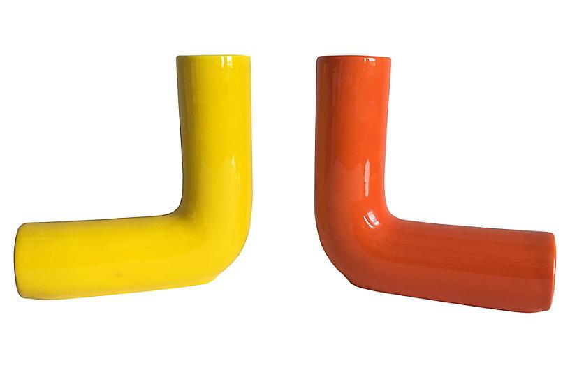 Italian Modern Vases, Pair