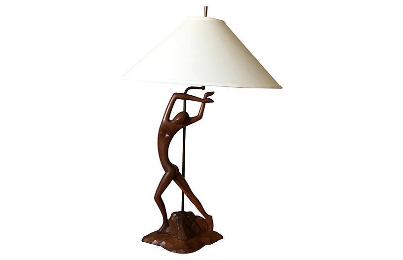 Modern Teak Figural Lamp & Shade