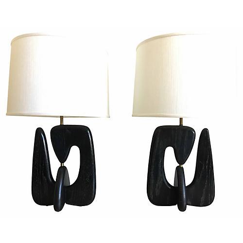 Mid-Century Raymor Lamps, Pair