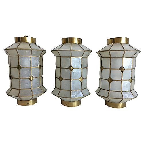 Capiz Shell Lanterns, S/3