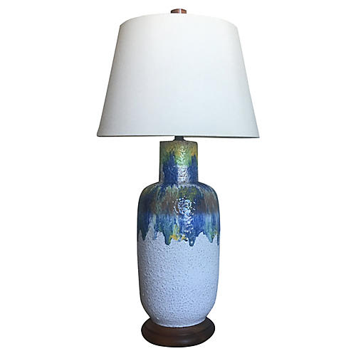 Oversize Midcentury Drip Glaze Lamp