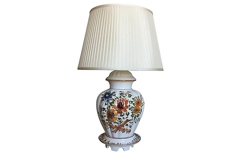 Hand-Painted Italian Lamp & Shade