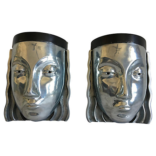 1970s Figural Wall Lights, Pair