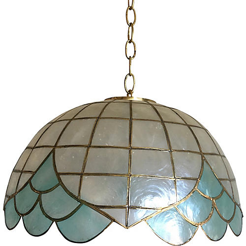 Blue Lotus Capiz Pendant Light