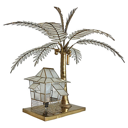 Capiz Shell Palm & Cabana Lamp