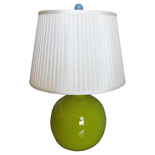1970s Ceramic Lamp & Silk Shade