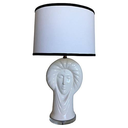 Italian Ceramic Heads Lamp