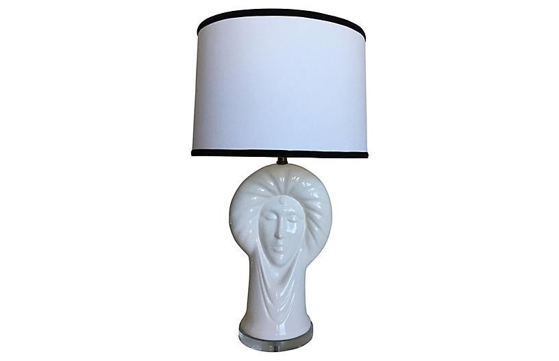 Italian Ceramic Heads Lamp