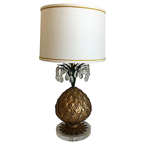 1950s Italian Pineapple Lamp & Shade