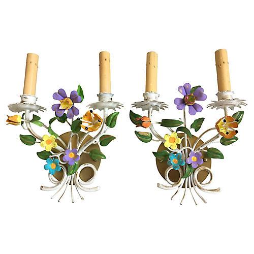 Italian Floral Sconces, Pair