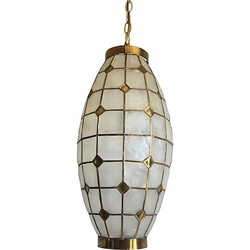 1960s Elongated Capiz Lantern