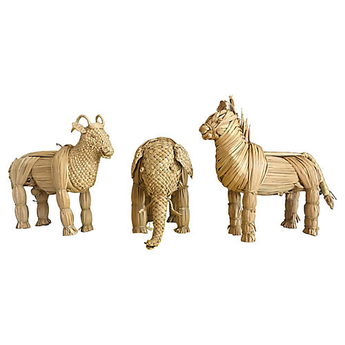 Midcentury Wicker Animals, Set of 3