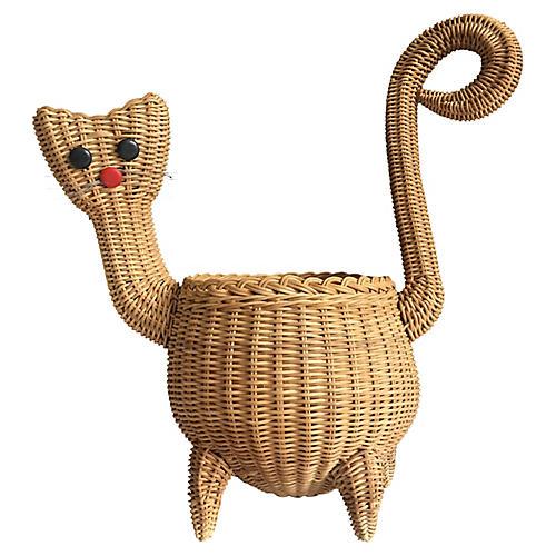 Midcentury Wicker Cat Basket