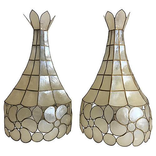 Capiz Shell Pavilion Pendants, Pair
