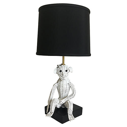 Wicker Monkey Lamp & Shade