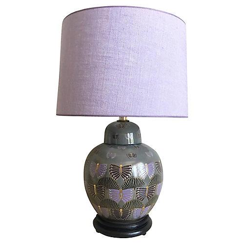 Mid-Century Butterflies Lamp & Shade