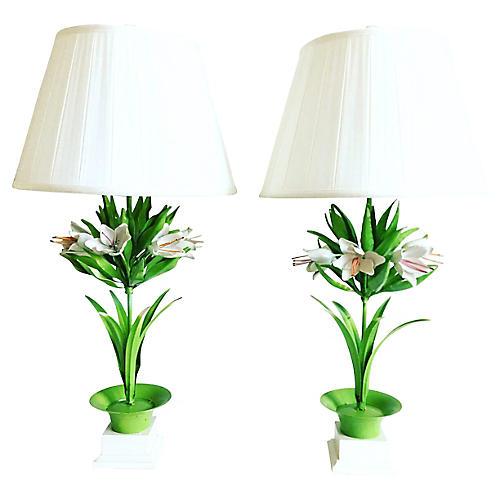 Italian Topiary Lamps & Shades, Pair