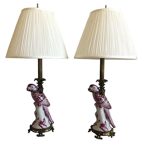 French Parrot Lamps & Shades, Pair