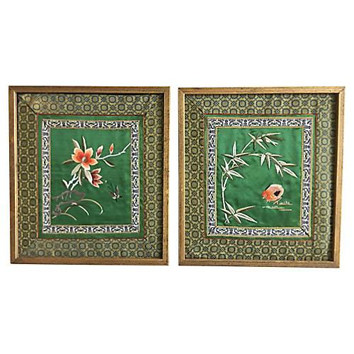 Chinese Silk Panels, Pair