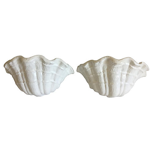 Plaster Clam Shell Sconces, Pair