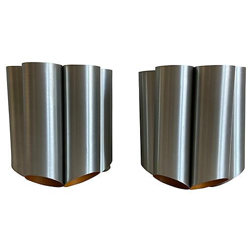 Danish Modern Cylinder Lights, Pair