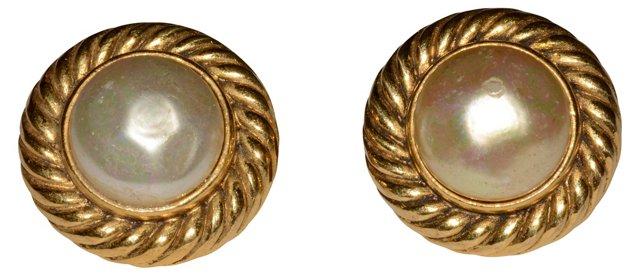 1980s Chanel Faux-Pearl Button Earrings