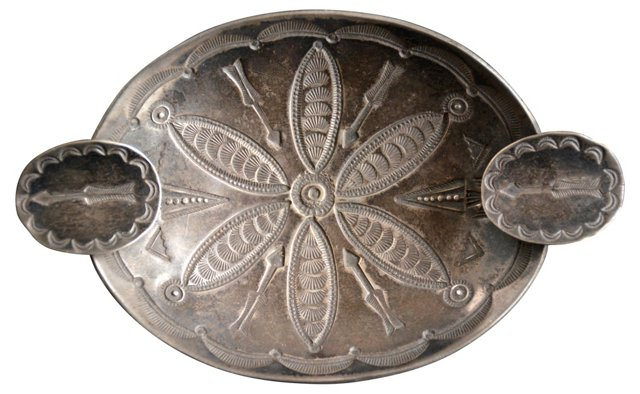Navajo Stamped Silver Ashtray