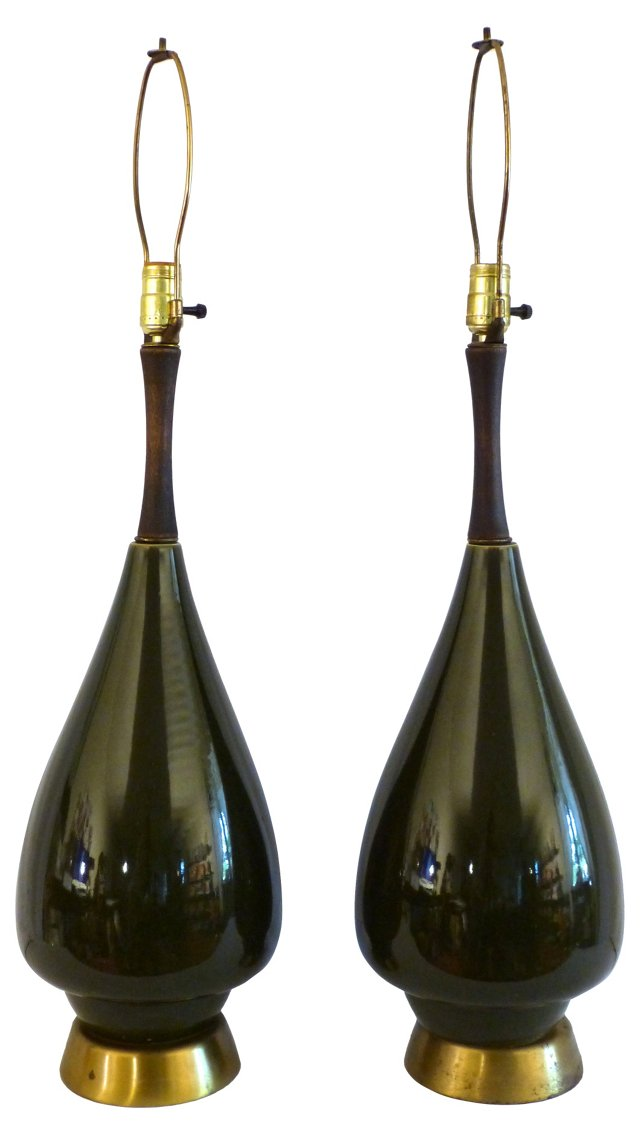 Danish Modern  Lamps, Pair