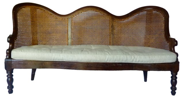 Antique Cane-Back Settee