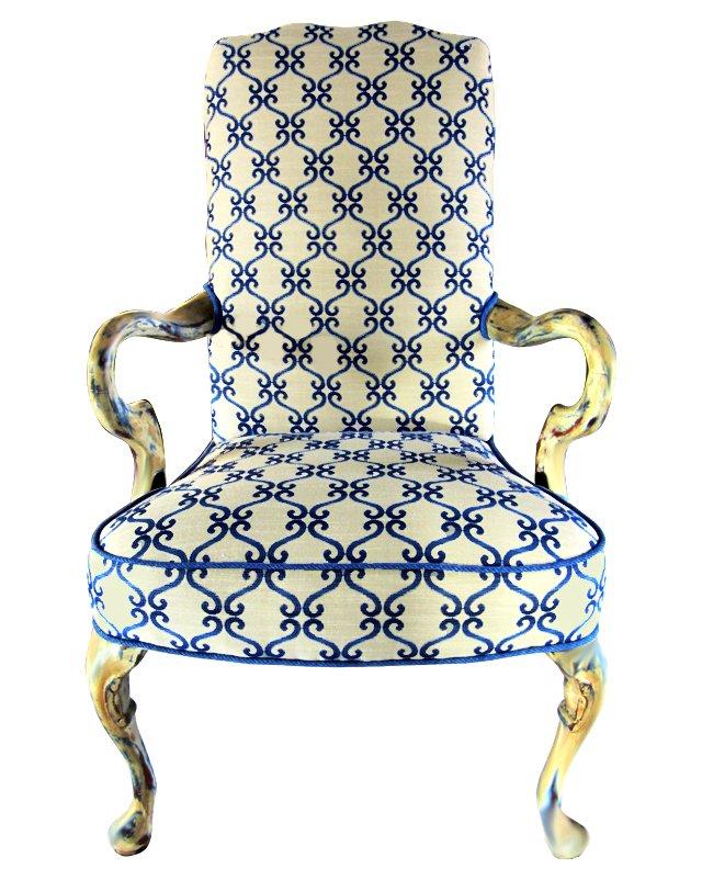 Queen Anne-Style Blue Scroll Chair