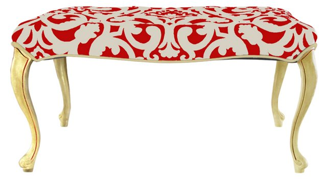 Red & White Upholstered Ottoman
