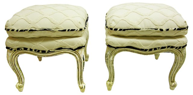 French Tabouret Stools, Pair