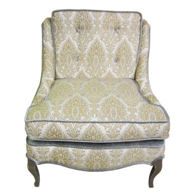 Silver Velvet Jacquard Slipper Chair