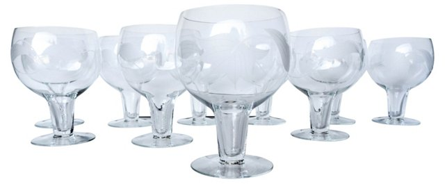 Etched Wine Glasses, S/10