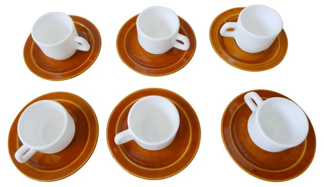French Demitasse Cups & Saucers, S/6