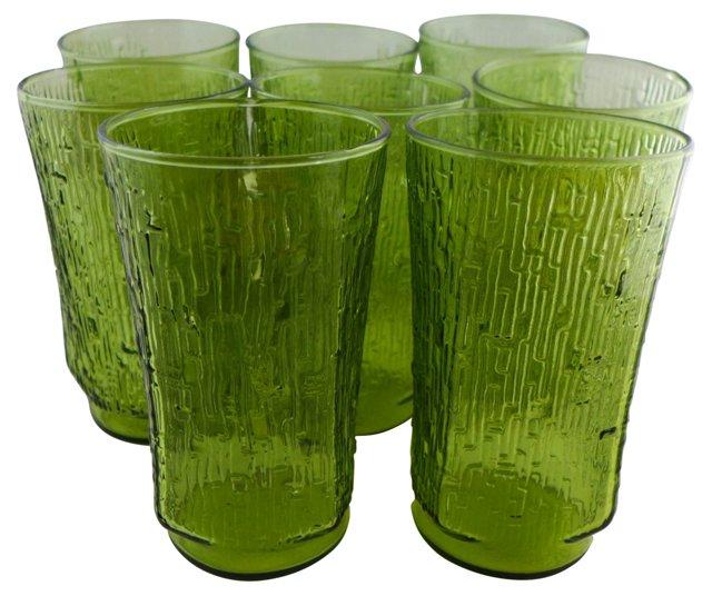 Midcentury Green Glasses, S/8