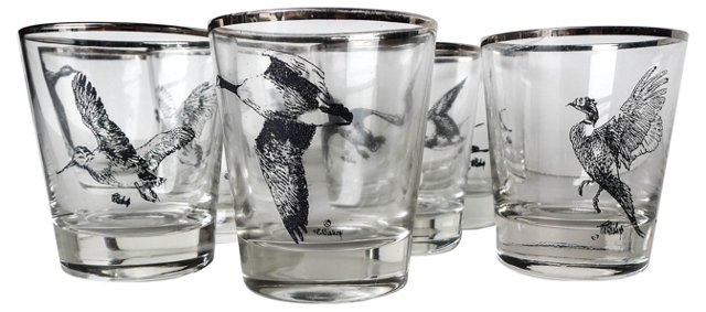 Game Birds Glasses, Set of 8