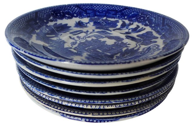 Blue & White  Saucers, S/8
