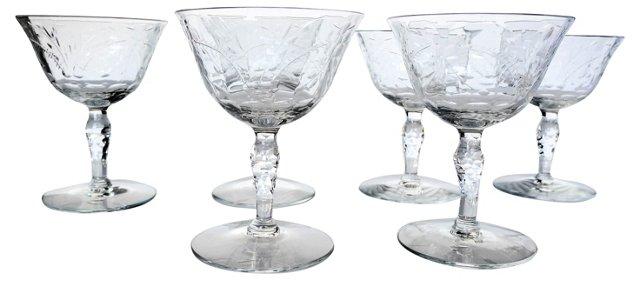 Crystal Sherbert Glasses, Set of 6