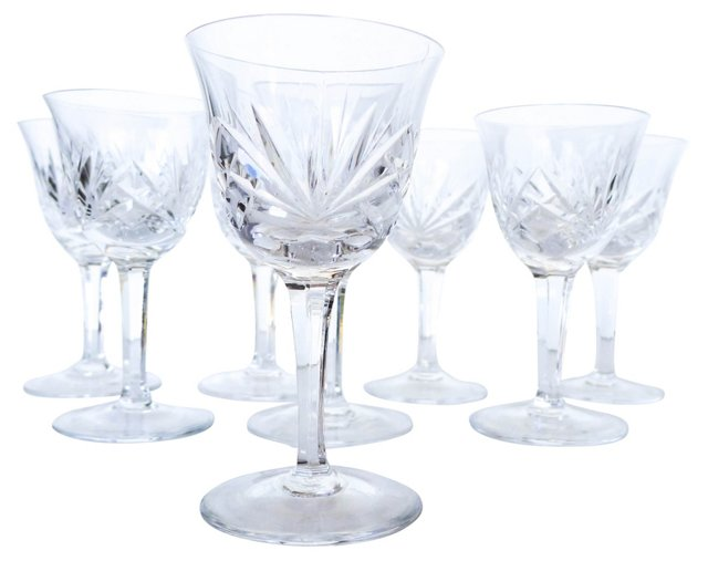 Crystal Long-Stem Sherry Glasses, S/8