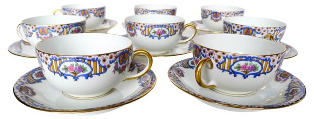 French Limoges Cups & Saucers, 19 Pcs