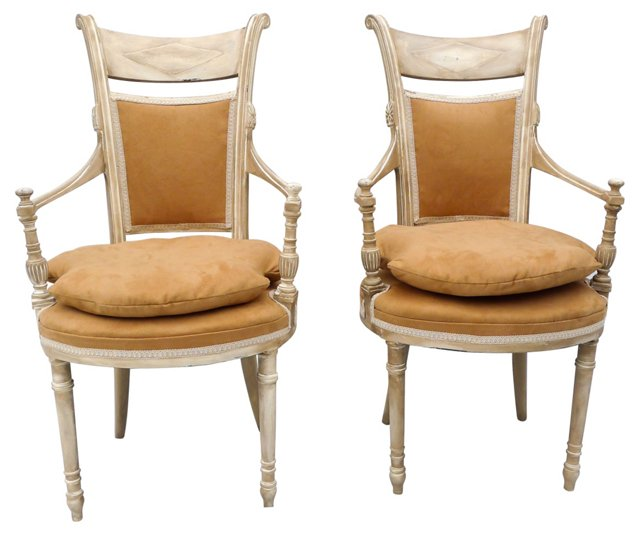 1940s French-Style Parlor Chairs, Pair