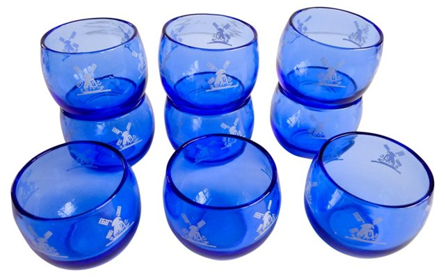 Roly-Poly Cobalt Tumblers, S/9