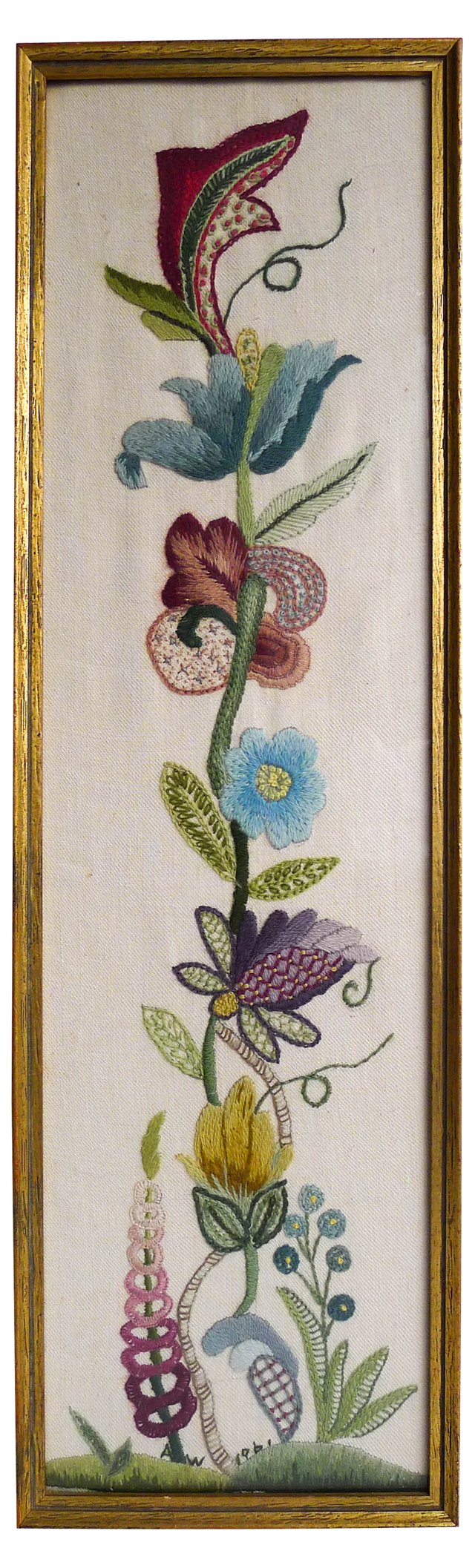 Midcentury Floral Crewelwork
