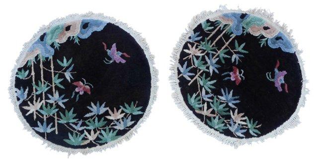 """Art Deco Chinese Rugs, Pair, 2'1"""""""