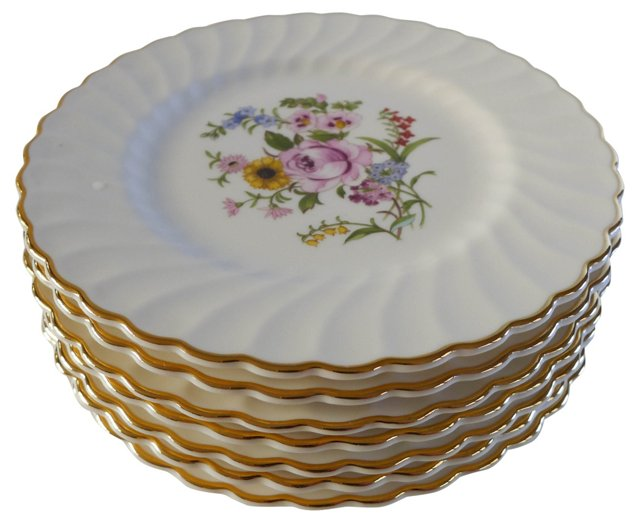 Floral Bread Plates, S/7