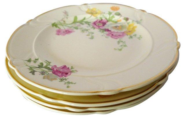 Taylor Floral Dessert Plates, S/4