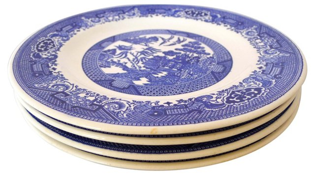 Blue Willow Dinner Plates, S/4