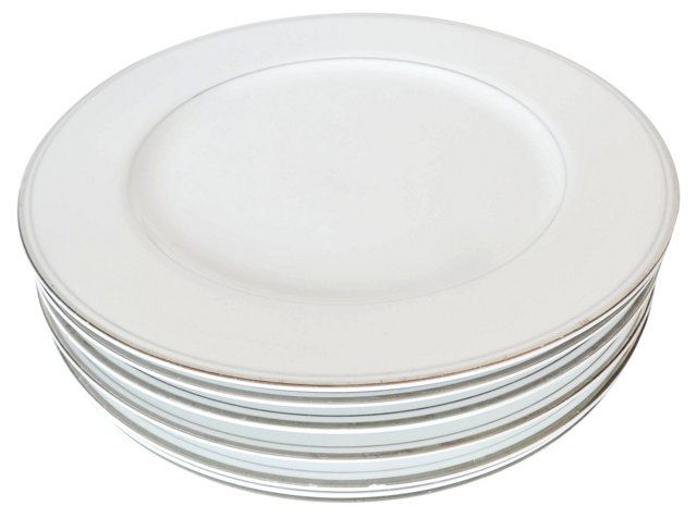 Crown Platino Dinner Chargers, S/7
